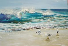 Ocean Wave and Seagulls Original Oil Painting on by MARVINSTUDIO, $195.00  is an original Oil painting on stretched canvas - not a print. I love the beach and watching seagulls running up and down the sand. This painting captures the moment a wave is crashing with the sun shining through it. The canvas size is 16 X 20 1/4 inches.