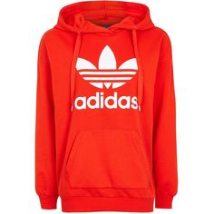 Trefoil Hoodie by Adidas Originals ($64) ❤ liked on Polyvore featuring tops, hoodies, red, cotton hooded sweatshirt, hooded pullover, cotton hoodie, sweatshirt hoodies and adidas hoodies