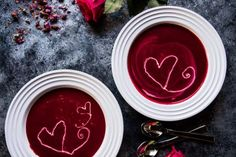 Looking for a great Valentine's Day meal? Try this delicious Roasted Beet & Goat Cheese Soup Recipe from Tieghan Gerard on The Inspired Home!