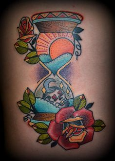 Zack Taylor at Evermore Tattoo Los Angeles #hourglass #tattoo #roses