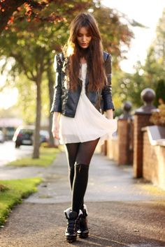 I have two white dresses I didn't wear this summer at ALL. I absolutely must try them with leather for fall.