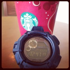 Casio #gshock mudman #G9300GB gold black series at starbucks #asiandolcelatte on weekend