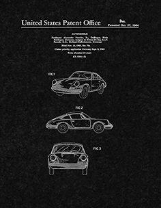 "Porsche Automobile Patent Print Art Poster Black Matte (8.5"" x 11"")"