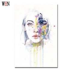 1Pc Elegant Girl Pictures Watercolor Paintings Abstract Wall Art Beauty Canvas Print Poster Cuadros Decoracion Christmas Gift #Affiliate