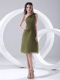 Caryn - Asymmetrische Schulter Chiffon knielangen Graduation Kleid mit Plissee - EUR 82,08€