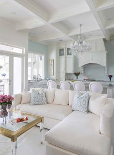 Open floor plan living room and kitchen merge design with detailed ceilings | The French Mix by Jennifer Dicerbo