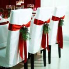 Christmas Wedding, something like these on the chairs might be nice  Keywords: #christmasweddings #jevelweddingplanning Follow Us: www.jevelweddingplanning.com  www.facebook.com/jevelweddingplanning/