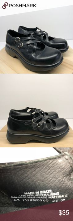 DANSKO Black Double Strap Mary Jane Sz 41 -CG2 DANSKO Black Leather Double Strap Mary Jane Med Heels Women 41 US 10.5 /11 in good condition. These shoes do show some signs of normal wear but still have a ton of life left in them.  Please see photos for color, style and condition.  Any props used in the photographing of these shoes including the shoe trees are not included in sale. Dansko Shoes Mules & Clogs