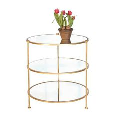 Worlds Away 3 Tier Gold Leaf Table With Mirrored Shelves