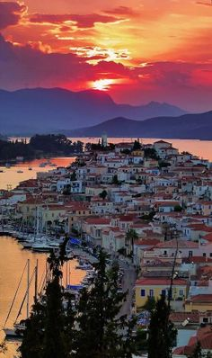 Sunset, the island of Poros, Greece. If you get to Athens - do the 3 island day trip - Aegina, Poros, Hydra. Places To Travel, Places To See, Travel Destinations, Dream Vacations, Vacation Spots, Vacation Rentals, Vacation Villas, Romantic Vacations, Romantic Travel