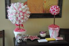 diaper & ribbon topiary trees for owl themed baby shower