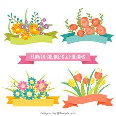 Cintas de flores en diseño plano Vector Gratis