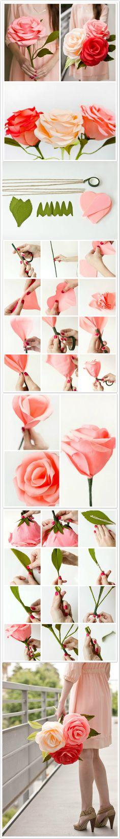 Flores de papel Projeto passo a passo