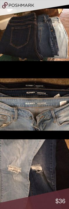 Old Navy Rockstar Jeans Lot of 3!!! Three pair of Old Navy Rockstar super stretchy jeans. The two lighter pair are distressed jeans. The dark pair is not.  These are PETITE LENGTH. They are ankle length for a petite girl. Old Navy Jeans Skinny