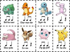 """Did you know that almost all Pokemon names are two beats long?Challenge your students to create rhythm compositions by using the names of their favorite Pokemon. I've given you 8 cards here, but your students will know hundreds of Pokemon to work with!Includes a """"drum refrain"""" to use a well."""