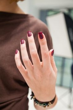 Love the matte with a glossy tip. Wine red french nails - Beauty and fashion