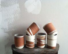 Ceramics : Red & White Tumblers | Helen Levi