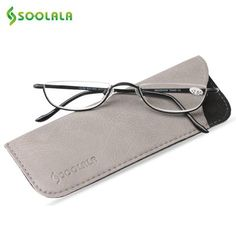 6fc8fdc05e SOOLALA Slim Reading Glasses Womens Men Brand Semi-Rimless Alloy Flat Top  Half Frame Glasses w  Leather Box +1.0 1.5 1.75 to 4.0