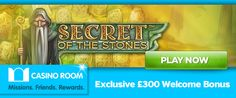 Get an exclusive 100% match bonus up to £300 at CasinoRoom to play the brand new Secret of the Stones slot game – read about NetEnt's latest game below: http://www.casinomanual.co.uk/exclusive-300-bonus-play-secret-stones-netent-slot/