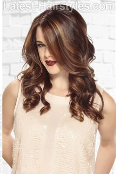 Brunette Haircolor with Caramel Highlights #prom hairstyles