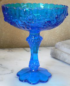 "Blue Rose Fenton Art Glass Roses 7.5"" Footed Compote Candy Dish"