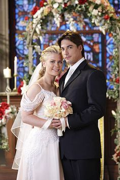 LIVES -- 'Sami Brady & Lucas Roberts Wedding Attempt Wedding' -- Pictured: (l-r) Alison Sweeney as Sami Brady, Bryan Dattilo as Lucas Roberts -- Soap Opera Stars, Soap Stars, Wedding Pics, Dream Wedding, Wedding Dresses, Alison Sweeney, Days Of Our Lives, General Hospital, Our Life