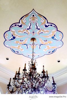 Love the colors, love the pattern, love the scale. Hand-painted ceiling by Houston's Imago Dei.