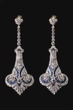 Diamond Jewelry Solid 925 sterling silver vintage victorian style earrings dangle screw back new Bijoux Art Nouveau, Art Nouveau Jewelry, Jewelry Art, Antique Jewelry, Vintage Jewelry, Jewelry Accessories, Fine Jewelry, Jewelry Design, Cartier Jewelry