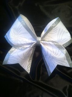 White Sparkly Fireworks Cheer Bow by AnnieBowBannieBows on Etsy