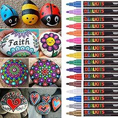 DealKits 16 Colors Paint Marker Pens for Rock Painting [Oil-Based] [Quick Dry] [Water Resistant] for Art Rock Painting Wood Glass Metal and Ceramic, Medium Tip Paint Marker Pen, Acrylic Paint Pens, Marker Paper, Stone Painting, Painting On Wood, Rock Painting, Stone Drawing, Paint Pens For Rocks, Diy Mug Designs