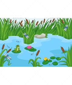 Buy Pond by Platinka on GraphicRiver. Illustration of a pond with a frog, EPS JPG (high resolution) Pond Drawing, Frog Drawing, Animal Nail Designs, Kindergarten Drawing, Plant Cartoon, Pond Painting, Islamic Cartoon, Landscape Background, Borders For Paper