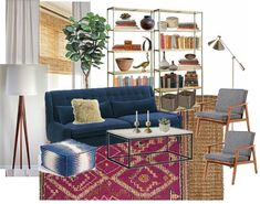 A COUPLE AFFORDABLE MOROCCAN SHAG RUGS mid-century modern layered eclectic organic modern living room navy blue sofa ikat pouf poof magenta pink fuchsia moroccan shag rug tribal jute sisal wood frame chair tripod lamp rosewood bamboo roman shades ikea aina linen drapes curtains marble coffee table