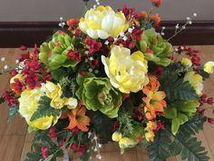Cemetery Flowers Cemetery Saddle Headstone by McCraeKidstonDesigns