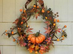 Pumpkin Wreath for Front door Fall wreath Autumn wreath Cinderella pumpkin wreath. $60.00, via Etsy.