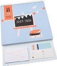 Busy B Academic School Year Calendar August - August 2015-16 - with stickers, monthly pockets and 5 columns