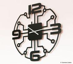 Laser Cut Metal Wall Clock Black by Jacques Lahitte Design © Tolonensis Creation, Germany Laser Art, 3d Laser, Clock Art, Diy Clock, Record Crafts, Wall Watch, Laser Cutter Projects, Record Clock, Metal Clock