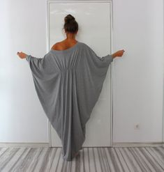 Grey Abaya Dress Queen Maxi Soft elastic Cotton Caftan Dress/Boho/Party/Day/Sundress/Evening/Casual/Hippie/Loose fitted dress