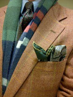 Scarf: Johnston's of Elgin;  Pocket Square: vintage, Ebay