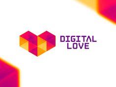 Digital love geometric heart logo design symbol by alex tass