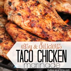 This easy Taco Chicken Marinade is perfect for the grill, crock pot, or the oven. We made it on chicken but really this marinade is perfect for pork too! Taco Chicken Marinade, Chicken Taco Seasoning, Grilled Chicken Tacos, Chicken Marinades, Grilled Chicken Recipes, Easy Chicken Recipes, Oven Chicken, Pork Rib Recipes, Beef Recipes