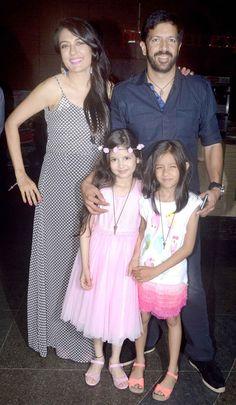 Kabir Khan and wife Mini Mathur with their daughters at 'Bajrangi Bhaijaan' screening.