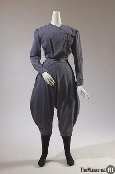 """1896 American Gym suit at the Museum at FIT, New York - From the curators' comments: """"Women of the late nineteenth century often wore garments with full """"bloomer"""" trousers for gym exercise or calisthenics, which was part of the curriculum at many women's educational institutions. In 1895, writer C.H. Crandall advised that """"men do not object in the least"""" to gym styles, """"so long as the touch of femininity, of modesty, is never lost."""""""""""