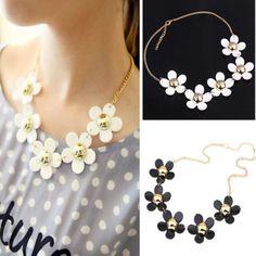 New-Fashion-Korean-Womens-sweet-Daisy-Flower-Bib-Statement-Collar-chain-Necklace