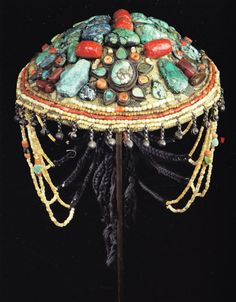 India | Chief Lama's Ceremonial Hat, Ladakh, Early-mid 20th century |  This is one of the many images included in the publication Ethnic Jewellery and Adornment: Australia, Oceania, Asia, Africa (Adelaide and Melbourne, 2009)