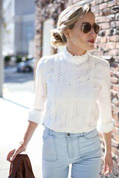 Lace blouse outfits inspirations / Koronkowe bluzki w stylizacjach <3 #lace #laceblouse #outfit #romantc #koronki #koronkowebluzki #bluzki #romantyczne #stylizacje #jeans