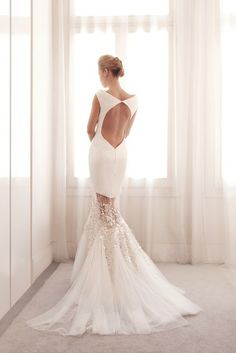 Unique two piece mermaid wedding gown by Gemy Bridal