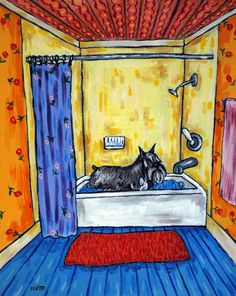 Schnauzer Taking a Bath Dog Art PRINT 11x14 JSCHMETZ by lulunjay, $17.99