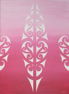 White maori design on Pink background.