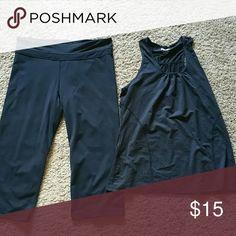 Black yoga set Black yoga pants are size XL and Capri. Shirt is racer back. Kirkland Pants