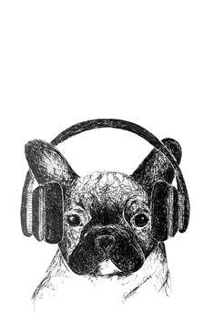 """Musik-Molly"" auf RIDING RHINO #Bulldogge #Welpe #Hund #Musik #Playlist #Kopfhörer #Illustration #Zeichnung #AnimalArt Judith Holofernes, Michael Jackson, Beatles, Skull, Friends, Illustration, Art, Riding Bikes, Bulldog Breeds"